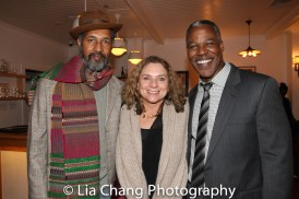 Dion Graham, Constanza Romero and Danny Johnson at the opening night celebration at Atelier Florian. Photo by Lia Chang