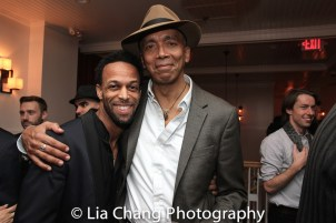 Jamal Story and Timothy Douglas at the opening night celebration at Atelier Florian. Photo by Lia Chang