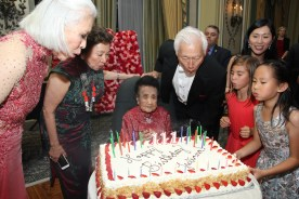 Mrs. Koo celebrates her 111th birthday with her daughters Gene Young and Shirley Young, her son-in-law Oscar L. Tang and his wife Agnes Hsu-Tang at The Pierre in New York on October 2, 2016. Photo by Lia Chang