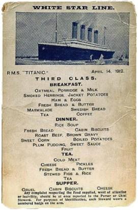 menu titanic tercera clase