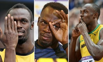 Jamaica's Usain Bolt gestures prior to taking the start of the men's 100m final at the athletics event during the London 2012 Olympic Games on August 5, 2012 in London. AFP PHOTO / FRANCK FIFE (Photo credit should read FRANCK FIFE/AFP/GettyImages)
