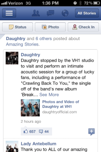Another Posting on Daughtry's Facebook Fan Page (No Mention of Duracell)