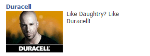 Duracell's Daughtry Facebook Ads Campaign