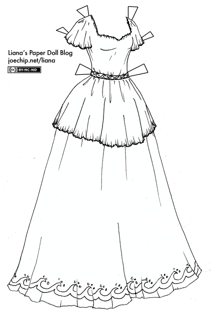 Black And White Short-Sleeved Princess Gown with Wave