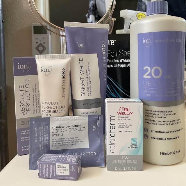 ion brand lightening products + wella color charm T10 toner from Sally Beauty