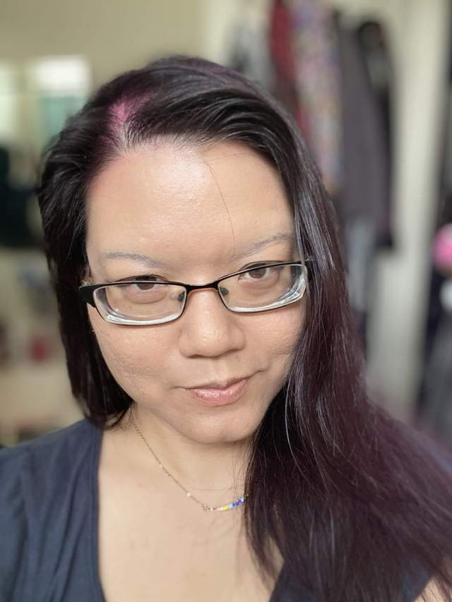 My black hair with pink scalp after using Punky Colour Pinktabulous