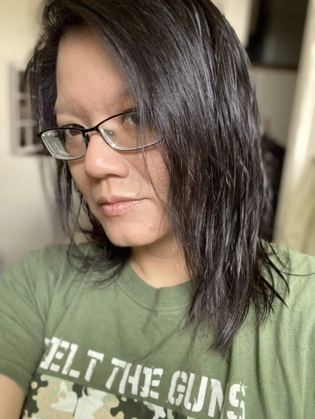 My hair after Simply Color in Truffle Brown by Schwartzkopf was added