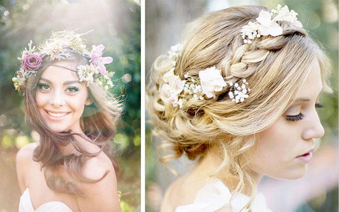Fresh Flowers On Brides' Hair