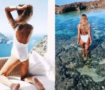 popular white one-piece swimsuit on INS