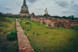 Inside the ruins of Phra Nakhon in Ayutthaya, Thailand.