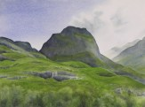 """HIghland Afternoon II. Watercolour on Paper. 11x15"""". Lianne Todd"""