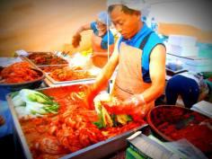 Lots of kimchi samples at the Kimchi Festival