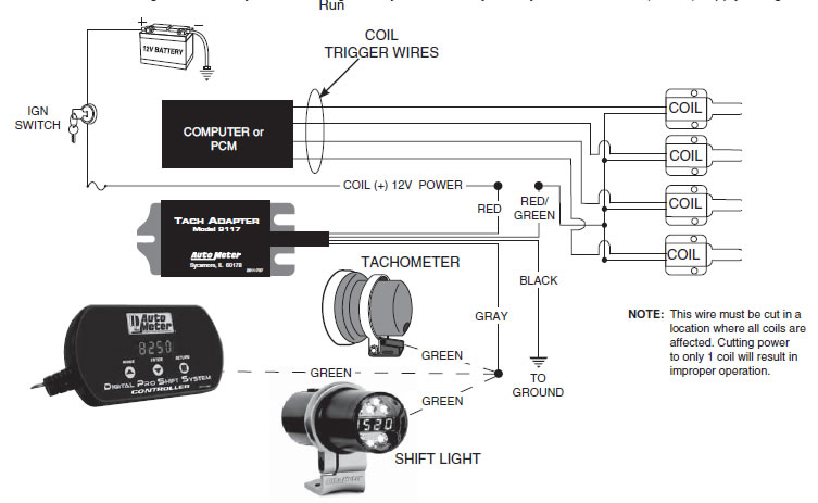1997 dodge dakota tach wiring diagram chrysler 300 diagrams how to install an auto meter adapter on your mustang connecting individual coil per plug ignition system