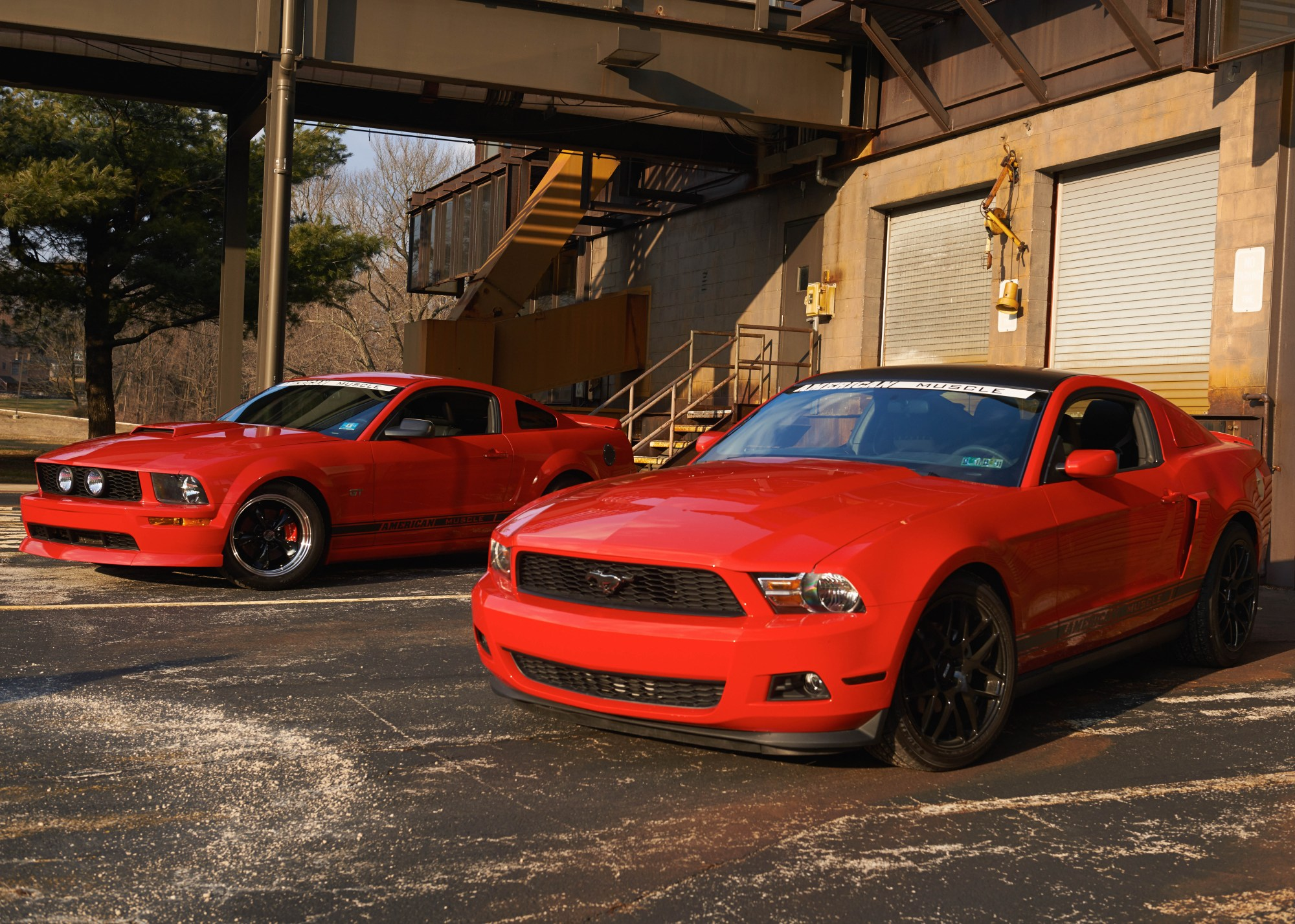 hight resolution of a 2007 and a 2011 mustang at the warehouse