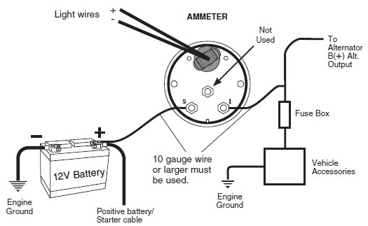 12 Volt Battery Meter Gauge Wiring Diagram