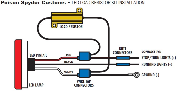 wiring diagram for led lights 2002 saturn stereo how to install poison spyder resistor kit tail on use a butt connector connect the end of red wire stop turn hot lead in oe harness which you identified step 3