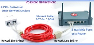 6 inches CAT5 10100 RJ45 1Female2Male Network Line Splitter Cable