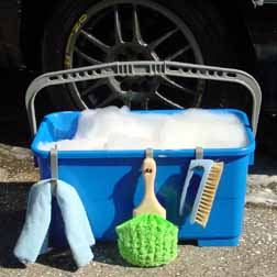Image result for Clean the car using a pail of soapy water