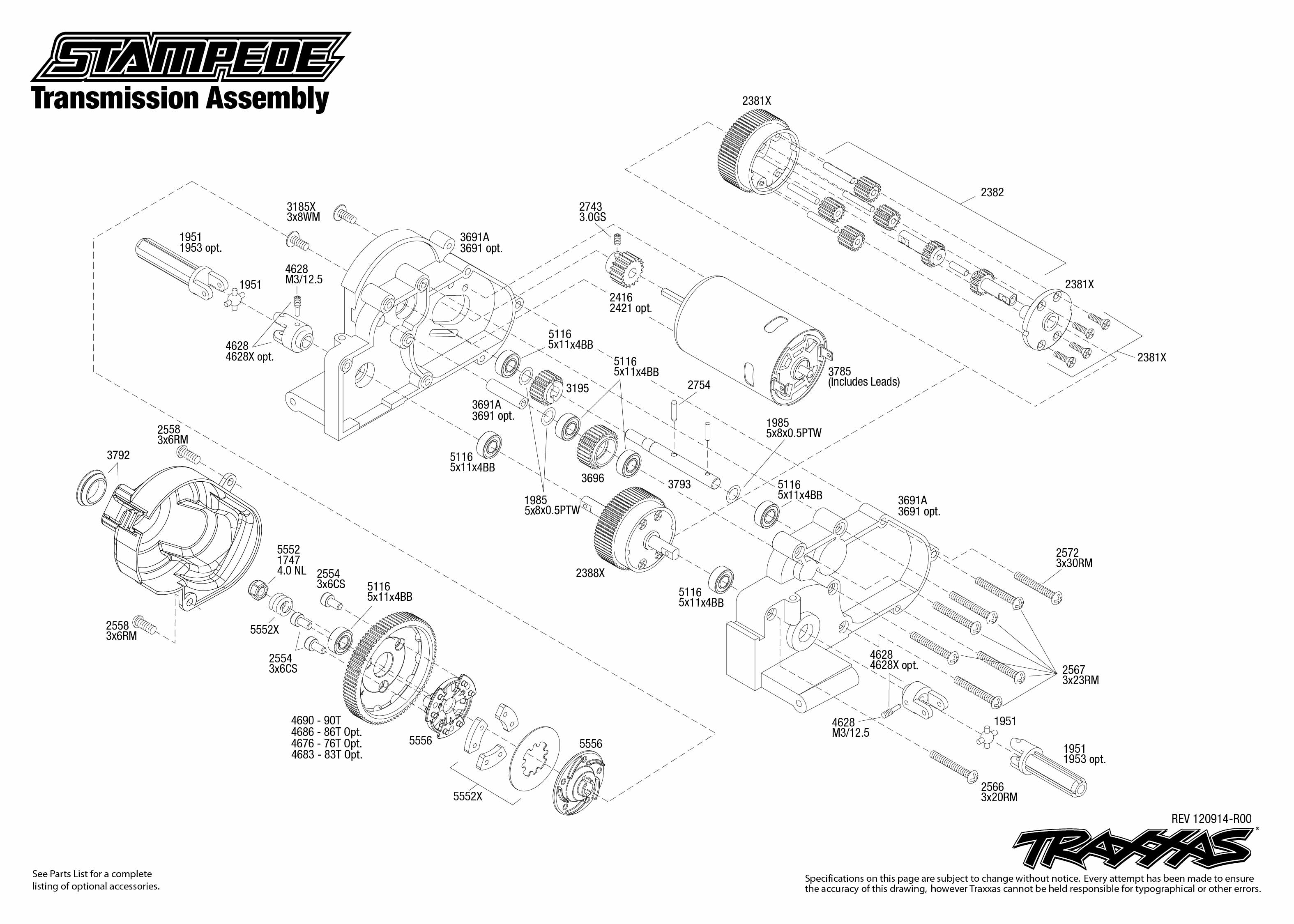 traxxas rustler vxl parts diagram four way switch wiring 1 10 scale stampede xl 5 2wd monster truck 36054