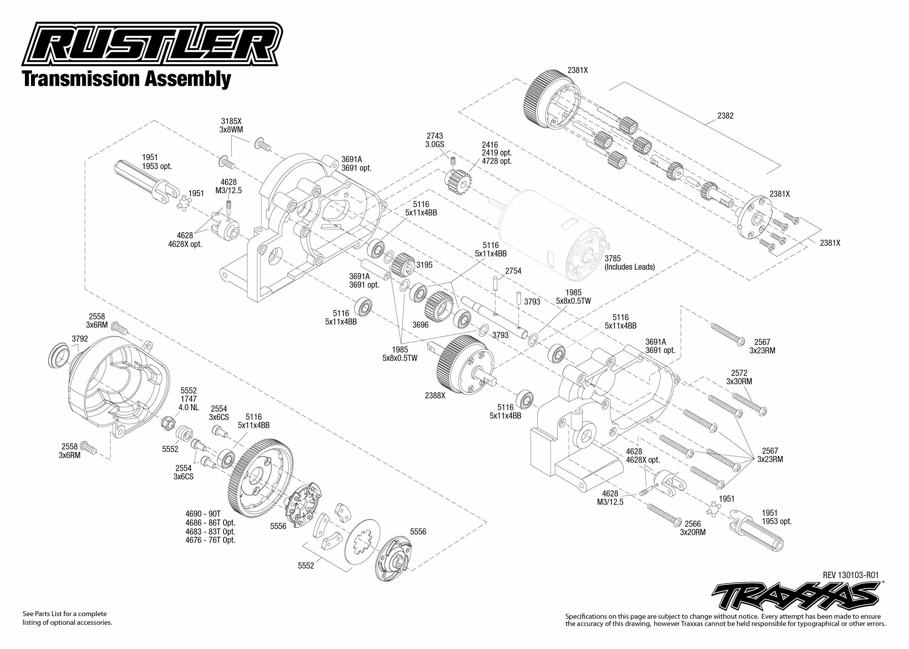 traxxas t maxx 2 5 transmission diagram jeep jk headlight wiring 1 10 scale rustler xl 2wd stadium truck 37054