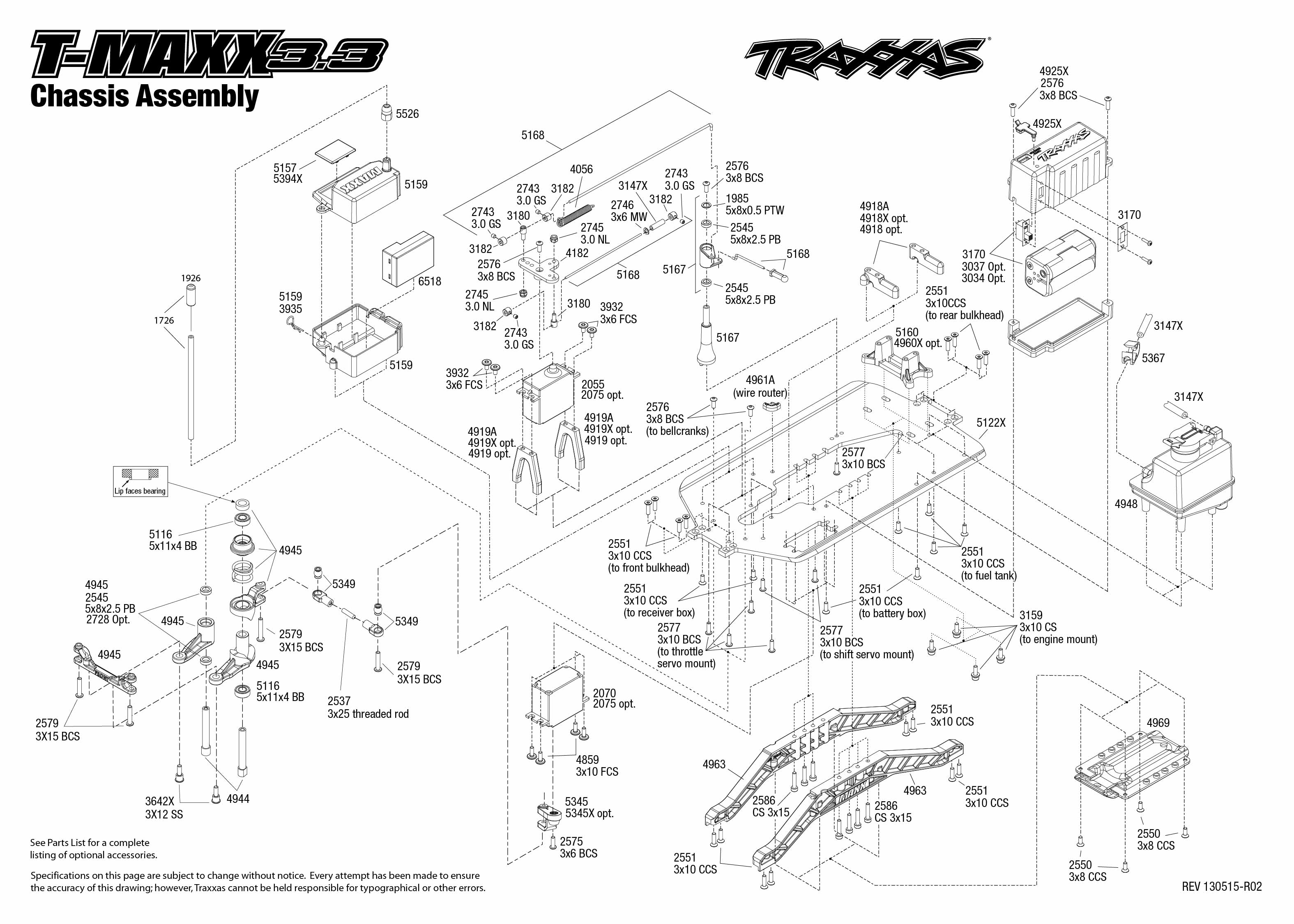 traxxas t maxx 2 5 transmission diagram emg select pickup wiring 1 10 scale 3 4wd monster truck 4907