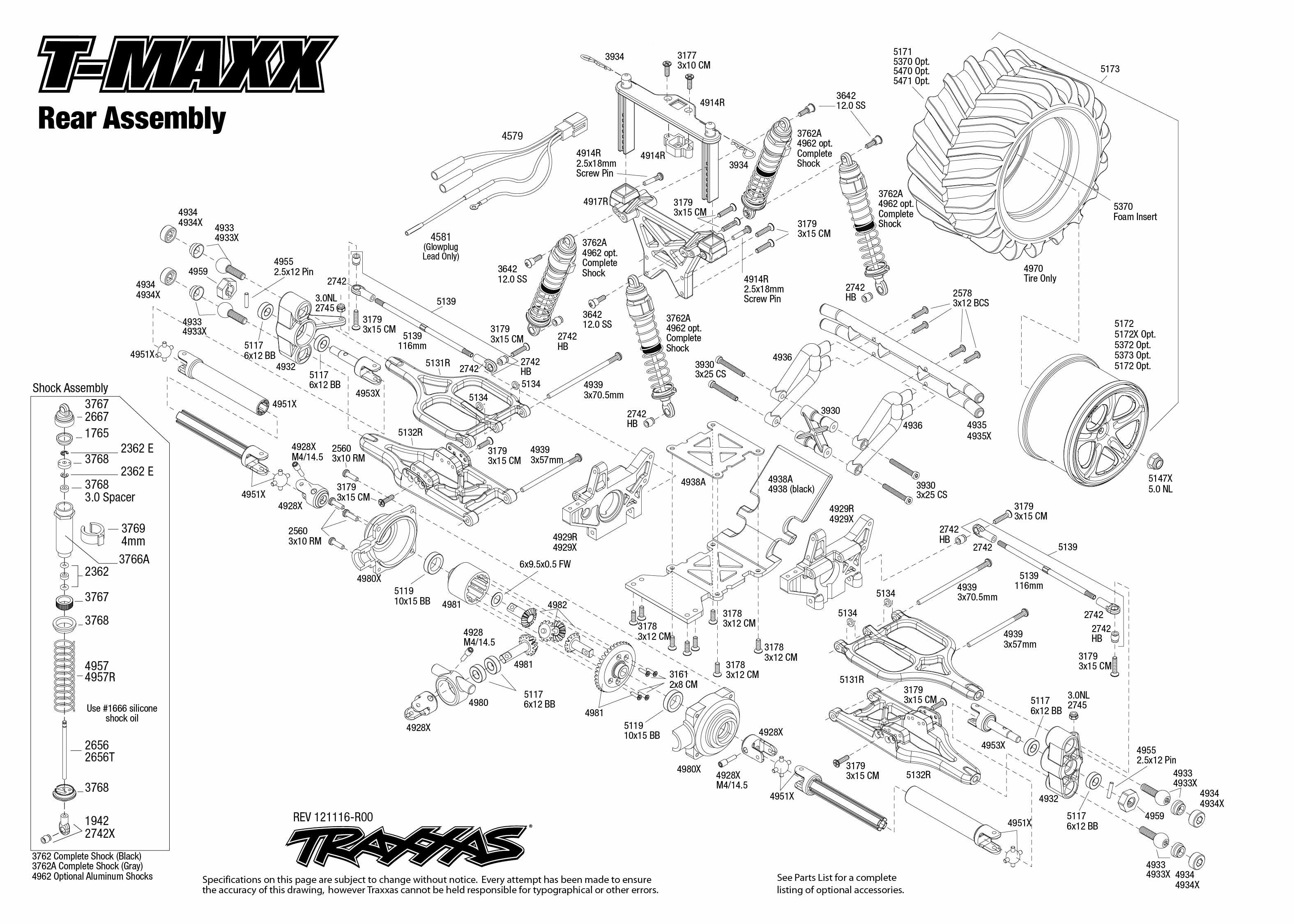traxxas t maxx 3 parts diagram worcester greenstar ri wiring 1 10 scale 4wd monster truck 49104