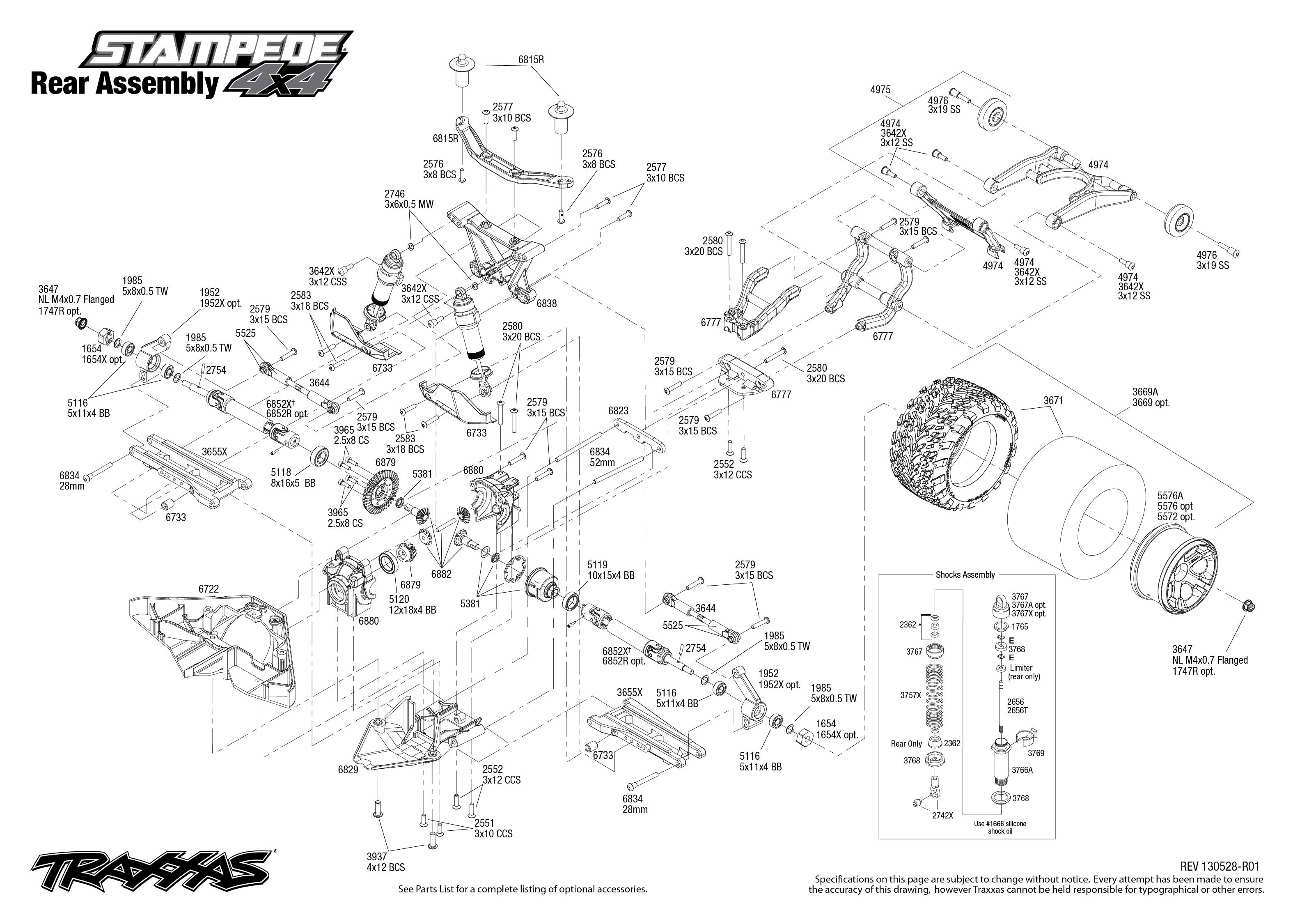 traxxas rustler vxl parts diagram mazda 323 wiring 1 10 scale stampede 4x4 4wd brushless monster