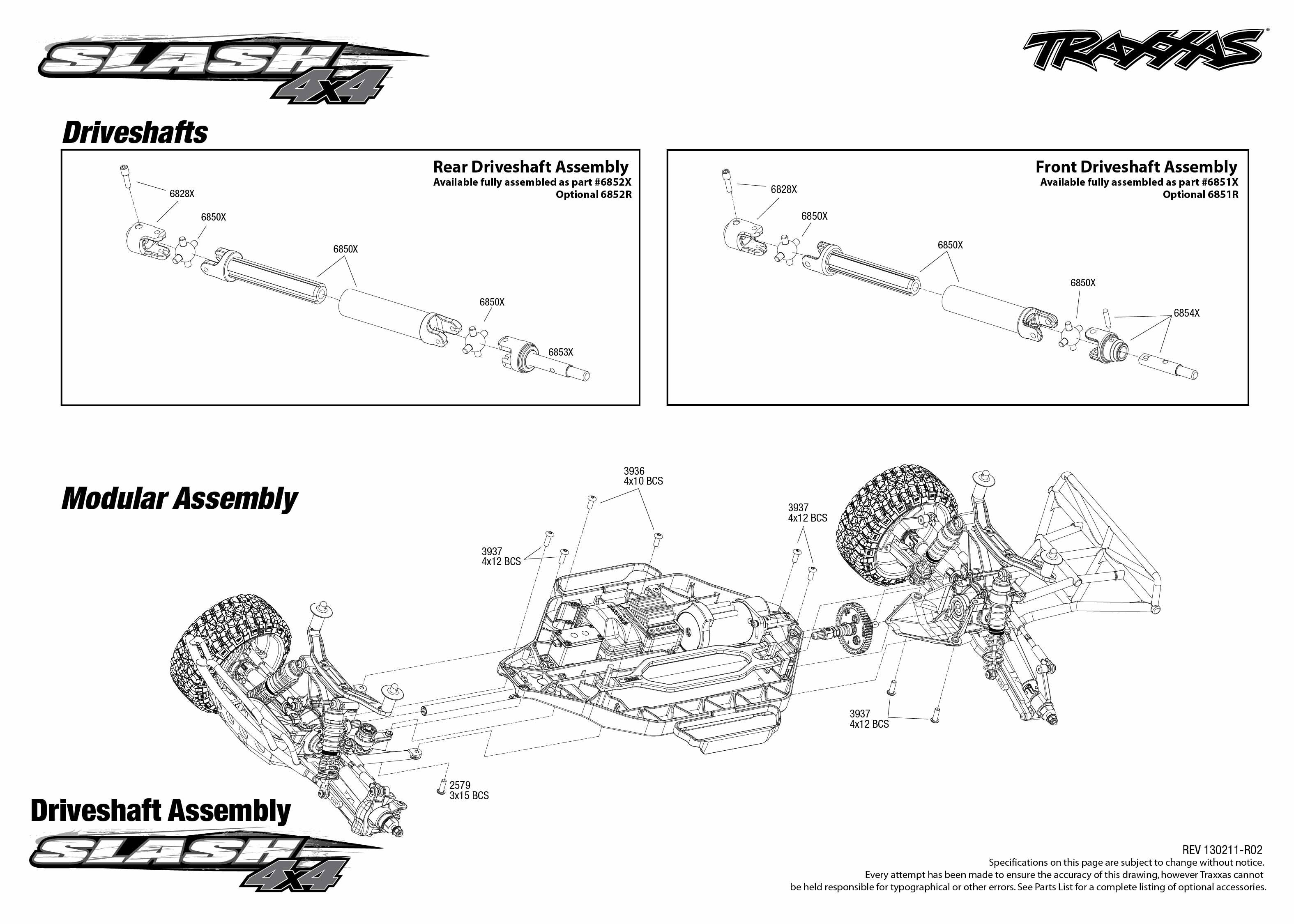 e revo brushless parts diagram club car golf cart battery wiring traxxas 1/10 scale slash 4x4 short course truck - 6808l