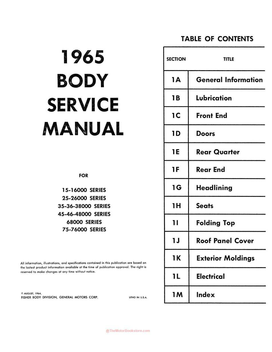 Chevrolet Chevelle, Chevy II, Corvair Body Service Manual