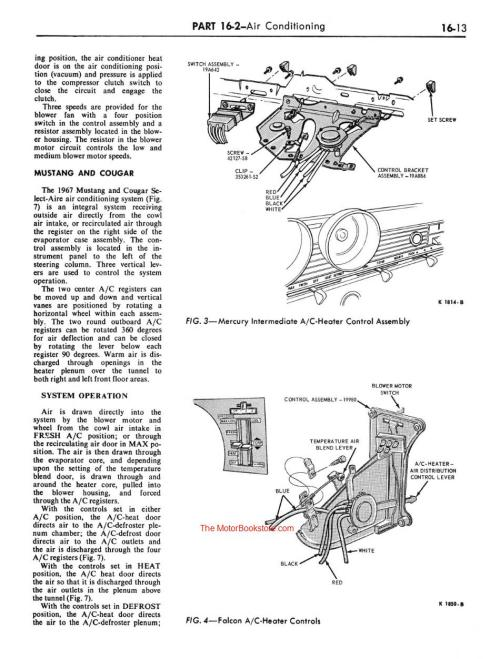 small resolution of 1967 ford mustang shop manual sample page air conditioning