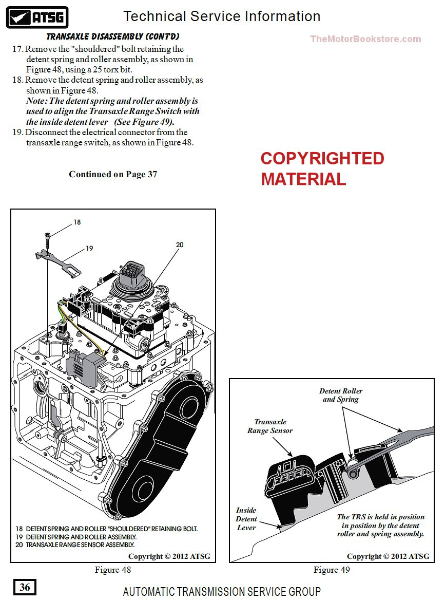 Dodge / Chrysler 62TE Transmission Rebuild Manual on CD