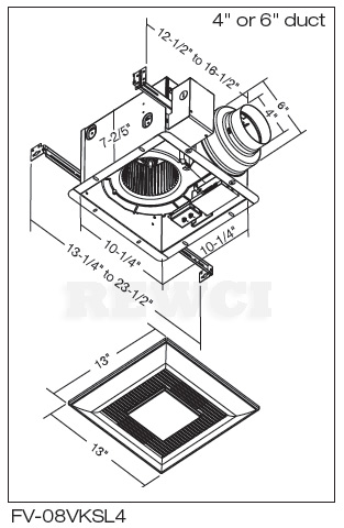 Panasonic FV-08VKSL4 Bath Exhaust Fan Combination—DC Motor