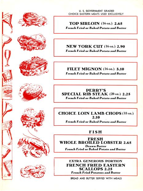 Perry's Steak House Restaurant Menu Pasadena And Los Angeles