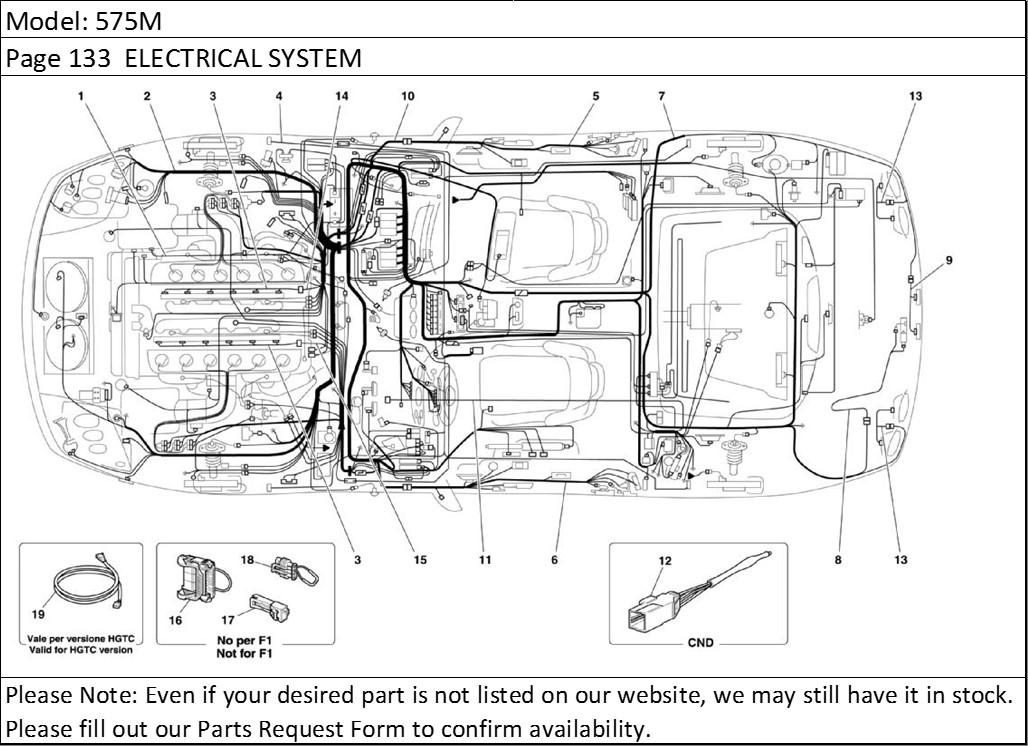 Buy Ferrari Part # 200727 TIRE PRESSURE WIRING HARNESS