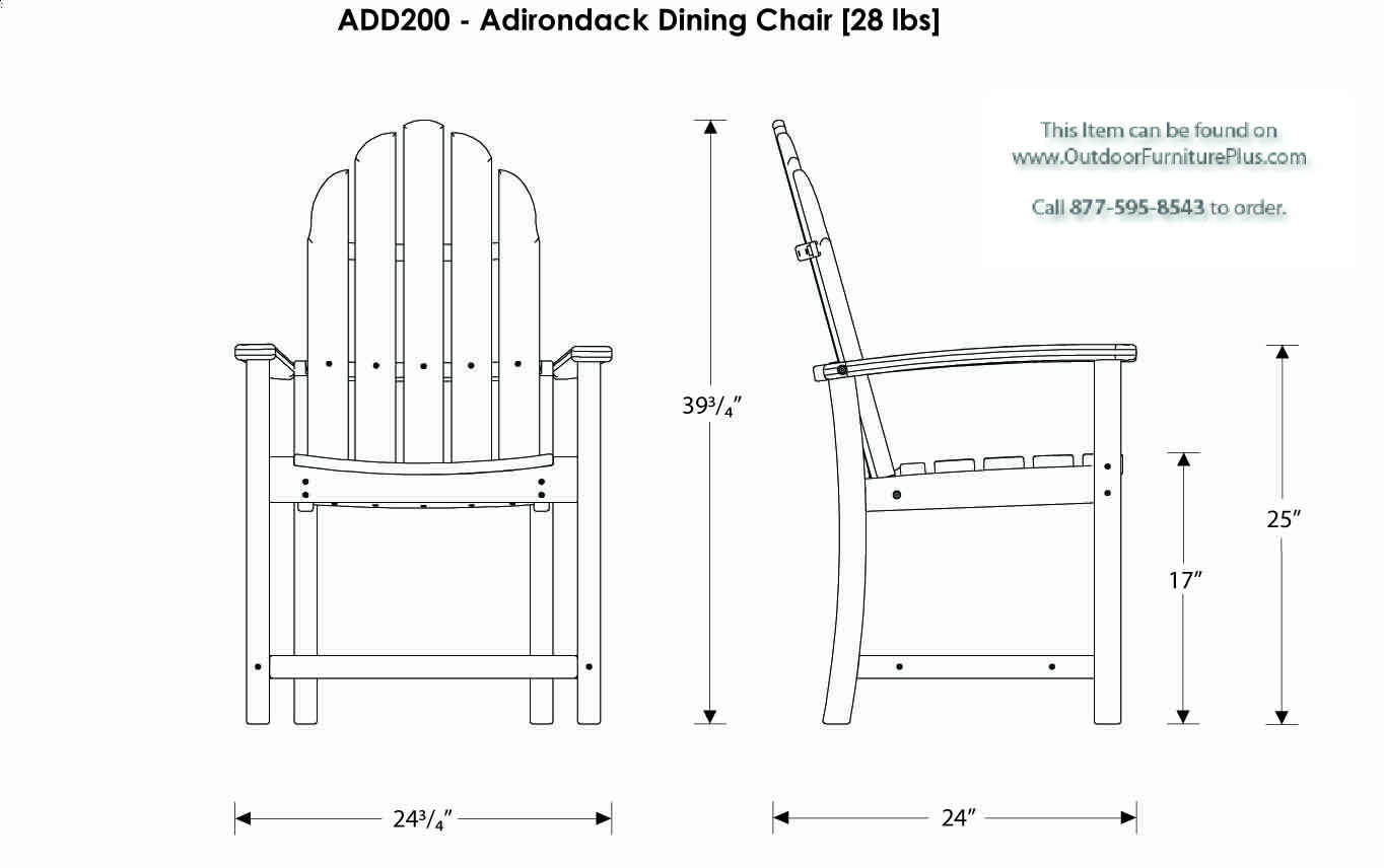 adirondack style dining chairs 6 chair table size polywood classic