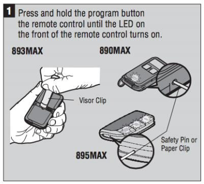 LiftMaster 893MAX 3 Visor Remote Control Garage Door Opener