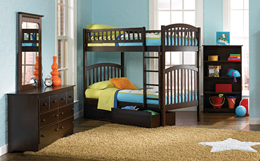 black bunk beds for kids free shipping