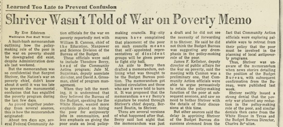 """""""Shriver Wasn't Told of War On Poverty Memo"""""""