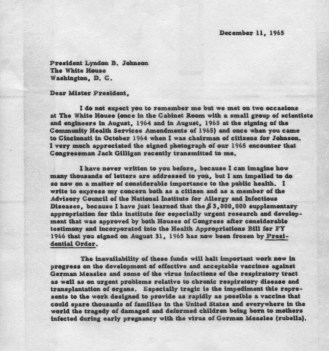 Letter from Dr. Sabin to President Johnson