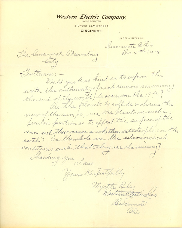 Letter from Mrytle Riley
