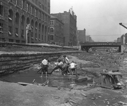 Children playing in the construction