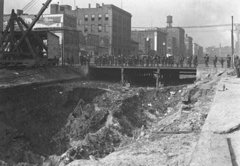 Men looking over construction site