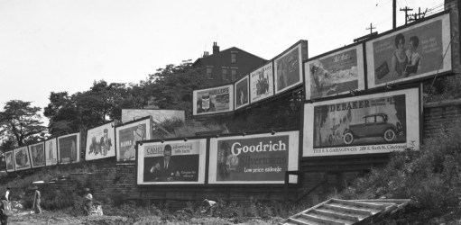 Billboards on a hillside
