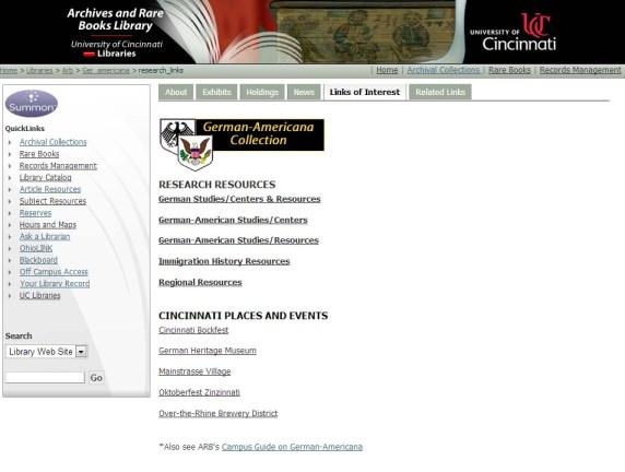 Screen Shot from German-Americana website