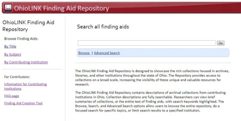 OhioLINK EAD Finding Aid Repository website