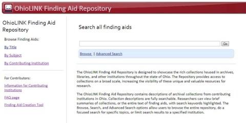 OhioLINK EAD Finding Aid Repository website