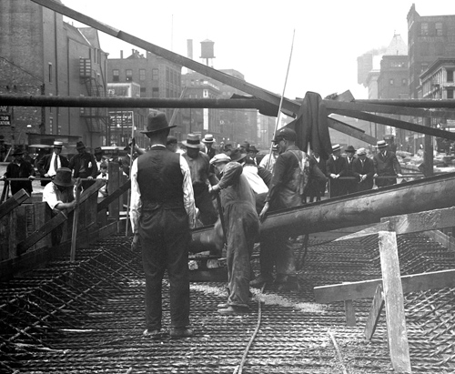 Subway Construction with onlookers