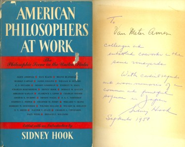 Cover and inscription of American Philosophers at Work