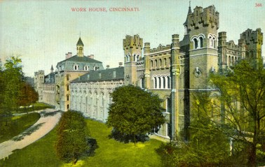 Postcard showing workhouse