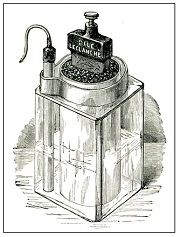 The Leclanché cell as depicted in Benjamin's 1893 treatise on the voltaic cell.